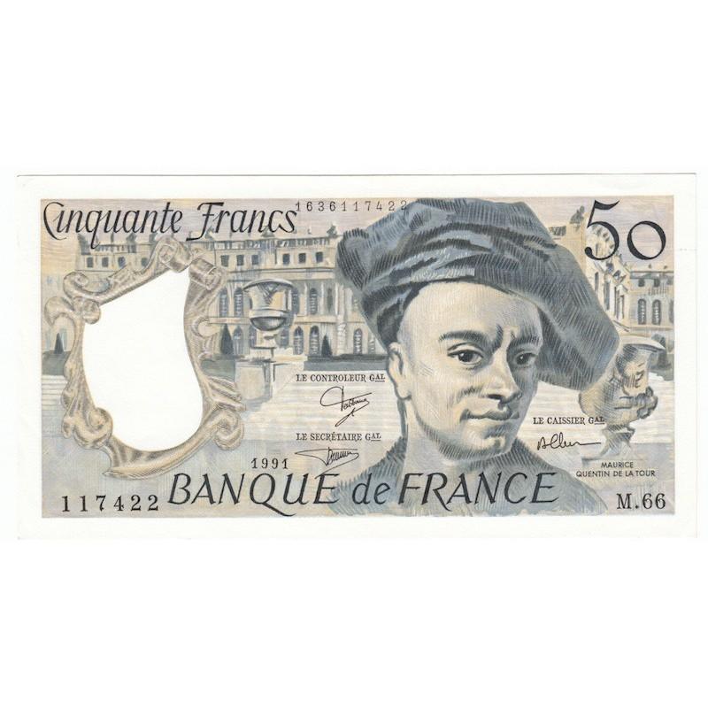 50 Francs Quentin De La Tour 1991 P/NEUF Coin corné