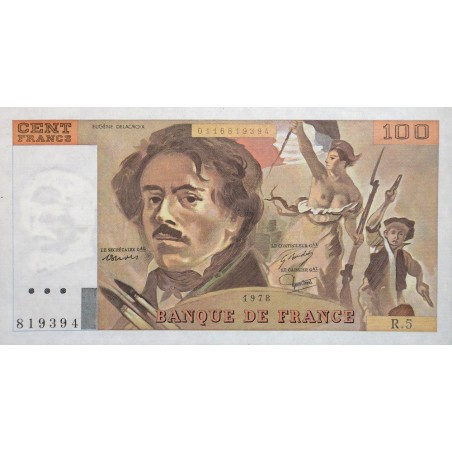 100 Francs Delacroix 1978 P/NEUF Alphabet R.5