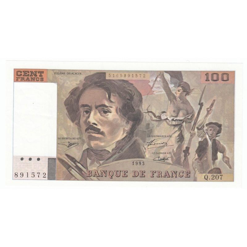100 Francs Delacroix 1993 SUP+    ALPH. Q.207