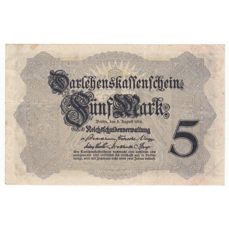 ALLEMAGNE 5 Mark 5 Aout 1914 SUP Ros 48