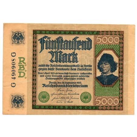 ALLEMAGNE 5000 Mark 16 Septembre SUP+  1922 Ros 76