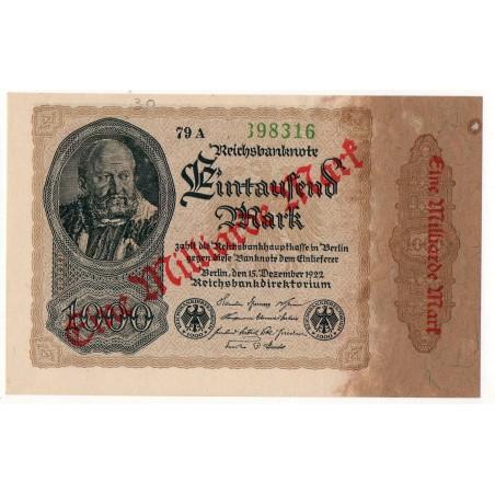 ALLEMAGNE 1000Mark/contremarque 15 Décembre 1922  SUP+  Ros 110