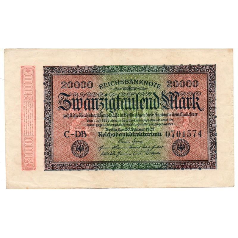 ALLEMAGNE 20000 Mark 20 Février TTB  1923 Ros 84c