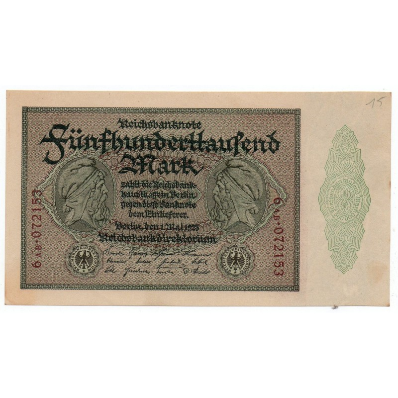 ALLEMAGNE 500.000 Mark 1 Mai 1923 NEUF Ros 87