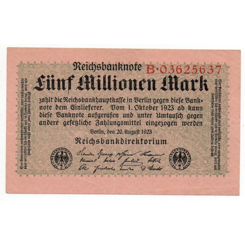 ALLEMAGNE 5 Millionen Mark 20 Aout 1923  SUP+  Ros 104 A