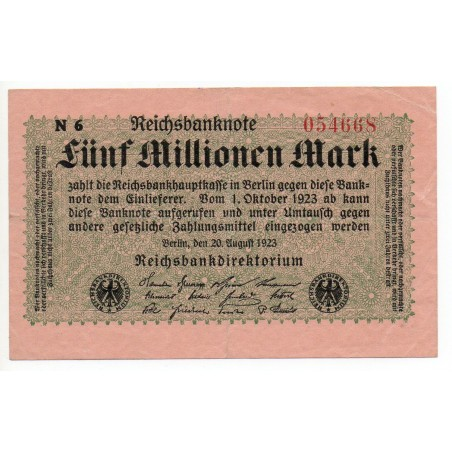 ALLEMAGNE 5 Millionen Mark 20 Aout TTB 1923 Ros 104 C