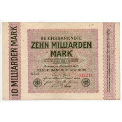 ALLEMAGNE 10 milliard Mark 1 Oct 1923 Ros 114 A
