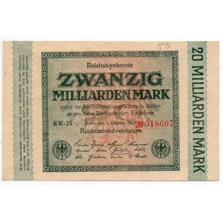 ALLEMAGNE 20 milliarden  Mark 1 Octobre 1923 SUP+ Ros 115