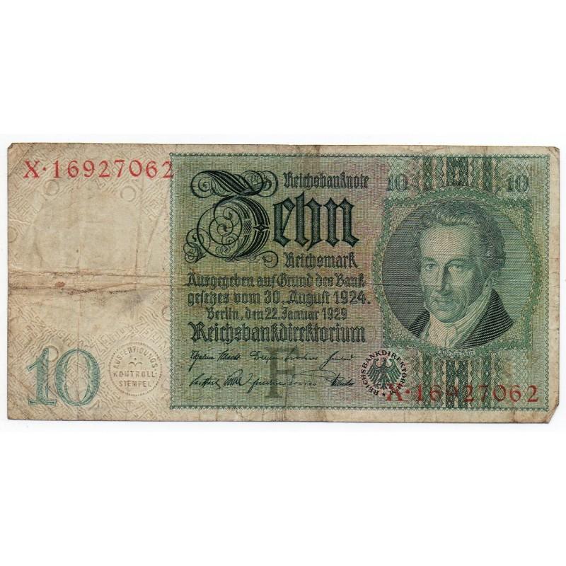 ALLEMAGNE 10 Reichsmark 22 Janvier 1929 TB Ros 173